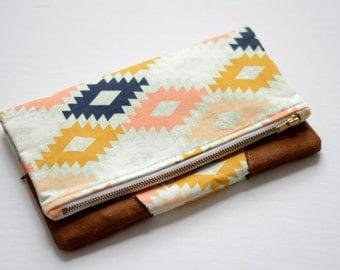 Clutch Bag - Clutch Handbag - Fold Over Clutch - Brown Clutch Bag - White Clutch Bag - Oversized Clutch - Cream Clutch - Faux Leather Clutch