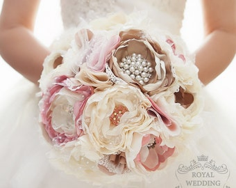 READY TO SHIP! Bridal Bouquet Fabric Brooch Bouquet Wedding Bouquet Vintage Wedding Bride Bouquet Shabby Chic Bouquet Rustic Bouquet