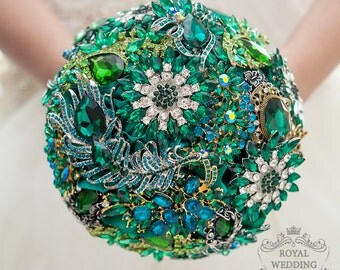 Bridal Bouquet Brooch Bouquet Bridesmaids Bouquet Wedding Bouquet Keepsake Bouquet Chic Bouquet Broach Bouquet Green Bouquet Emerald Bouquet