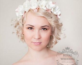 Bridal Headpiece Flower Crown Bridal Headband Wedding Headpiece Wedding Headband Blush Pink Headband Bridal Crown Flower Girl Headband