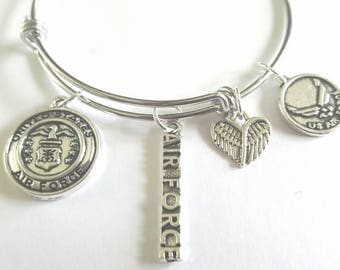 Air Force charm bracelet - Air Force jewelry - Air Force bracelet - Air Force apparel - US Air Force - US Air Force bracelet  - US Air Force