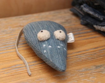 Denim mouse , toy mouse, recycled upcycled denim toy , cute mouse , stuffed toy , soft toy , vintage style , stuffed animals , nursery decor