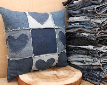 Denim recycled decorative pillow , blue jeans pillow , handmade pillow , upcycled denim pillow , country style pillow , Quilting technique