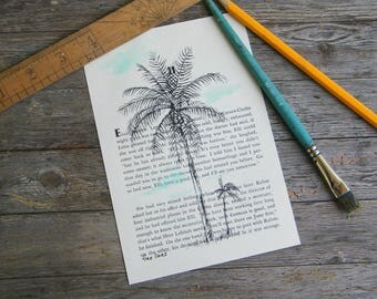 Dictionary art, Palm tree print, Botanical print, Tree print, Book art, Hipster room decor, Tropical art, Housewarming gift, Thank you gift