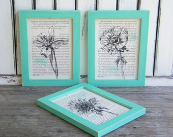 Botanical Prints Set, Rustic Framed Art, Flowers Print, Natural Art, Book Art, Set Of 3, Bedroom Decor, Gift Under 100, Gift For Her