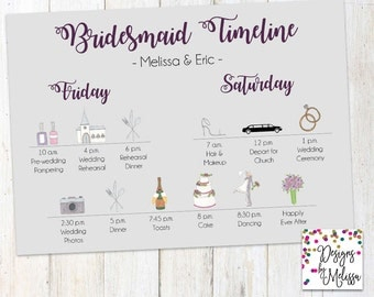 Printable wedding day itinerary card wedding day timeline bridesmaid timeline wedding day timeline brides gal wedding timeline wedding weekend timeline junglespirit Images