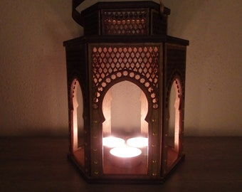 "Wooden Lantern ""ZAHIRA"" for 3 tealights - different colors"