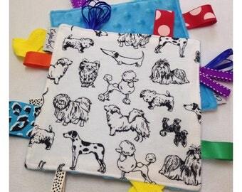 Dog tag toy, sensory crinkle toy, baby crinkle paper, crinkle tag toy, dog baby, dog baby toy, dog bedding