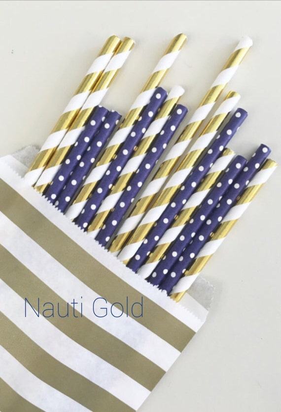 Nauti Gold straw mix//paper straws, straws, party supplies, party decorations, baby shower, birthday party, bachelorette party, decor