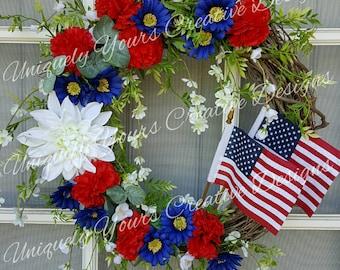 Americana Patriotic Wreath, Patriotic Flag Wreath, Navy Wreath, Americana Flag Wreath, 4th of July/Memorial/Labor Day, Double Flag Wreath