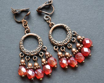 Boho bohemian earrings, beaded pendants earrings, copper earrings, clip on dangle  earrings, gift for a friend