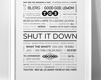 "30 ROCK, ""Shut It Down"" Typography Print"