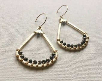 Pyrite Black Gray Gold Triangle Wire Wrapped Handmade Gemstone Earrings
