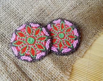 Ethnic Beadwork Beaded Medallion Gul i Peron Gul-i-peron Tribal Disk Afghani Beadwork Tribal Beadwork Kuchi Accessories Tribal Talisman