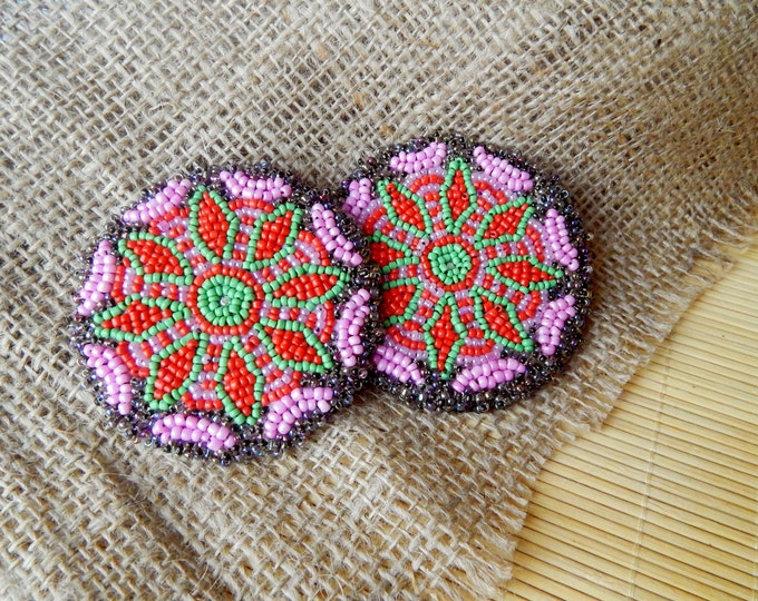 Gul i peron / pair of beaded medallion / tribal talisman / handmade disk / embroidered patch / ats costume detail