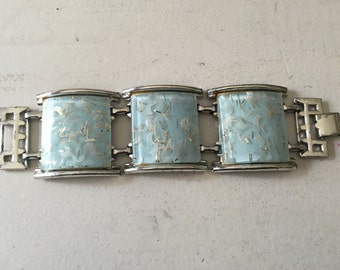 Vintage Light Blue Thermoset with Silver Moon and Strands Confetti/Glitter Cuff Bracelet 0941