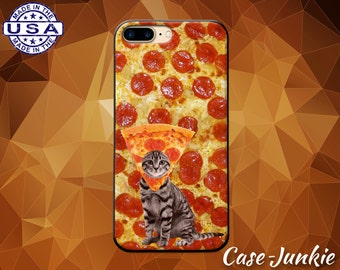 Pizza Cat Pizza Hat Pepperoni Gray Kitty Kitten Funny Case iPhone 5 5s 5c iPhone 6 and 6+ and iPhone 6s iPhone 6s Plus iPhone SE iPhone 7 +