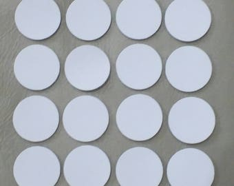 Leather Circles, White, 6 Sizes 10mm. 15mm. 20mm. 25mm. 30mm. & 40mm., Leather Circles Die Cut, Circles Decoration, DIY Projects.