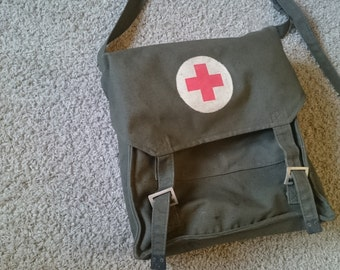 Army bag, shoulder bag, military bag, Yugoslavian army, red cross, messanger bag