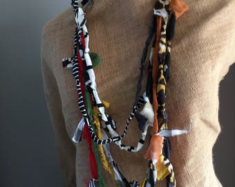 eclectic fabric necklace with multi textures