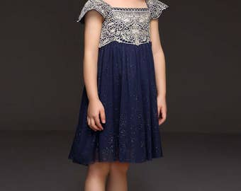 Beautiful Navy and Silver Girl's Dress
