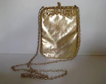 Vintage Gold Crossbody, Gold Evening Bag, Gold Purse, Gold Lame Purse, Gold Lame Bag, Gold Metallic Bag, Gold Chain Crossbody, Gold Bag
