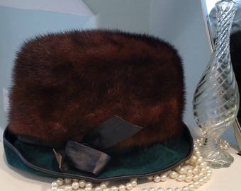 Vintage Mink, Leather, Velour Hat - Elegant Mink Hat