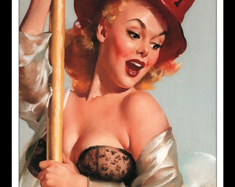 "Gil Elvgren Vintage Pinup Illustration ""Fire Belle (Always Ready) 1956"" Sexy Pinup Mature Wall Art Deco Book Print 9 3/4"" x 14"""