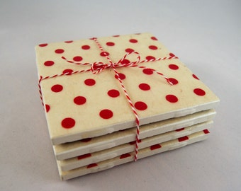 Coasters // Retro Polka Dot // Set of Four