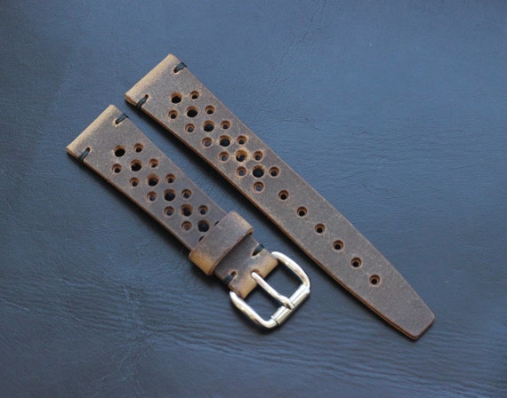 20/16mm Horween Spinnaker Rally watch band with simple stitching
