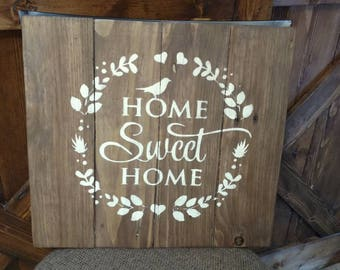 Home Sweet Home pallet sign with birds.