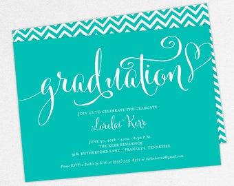 Graduation Invitation, Graduation Announcement, Printable Invitation, Invitation PDF, DIY, Printed, Gold, Blue, Chevron, Heart, Lorelai