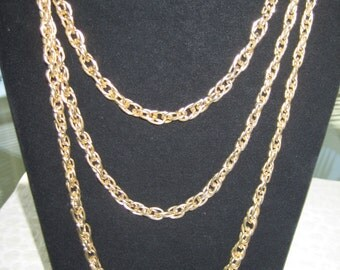 Vintage Signed Lisner 3 Strand Chain Necklace, Gold Tone, vintage jewelry, eco friendly, reclaimed jewelry, vintage earrings, vintage lisner