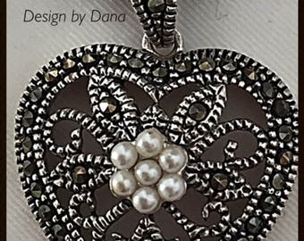 Marcasite Romantic Filigree Sterling Silver Oval Pendent-Velvet Tie-Pearl-Necklace