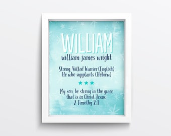 Boy Name Meaning Print - Personalized