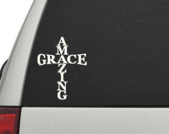 Amazing Grace decal, amazing grace, Car decal, window decal, wall decal, religious decal, God decal, religion decal, decal, christian decal