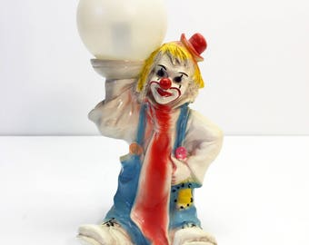 Vintage Clown Lamp Chalkware Colourful Bozzo Hobo Light Marked Mod Dep. 1986