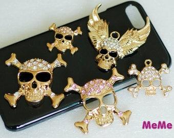 1 Piece Skull Charm Bling Gem Luxury Alloy Pendants Accessories  Kawaii Cabochon DecoDen on Craft Phone Case DIY Deco AA1151