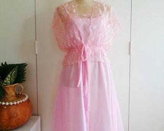 Vintage 70s Pink Dress and Lace Jacket - 2 Piece Set XS