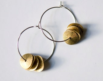 brass hoops with engraved/printed discs