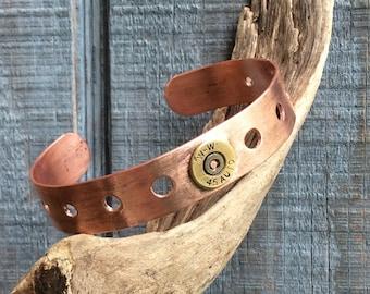 Recycled Copper Cuff with Recylced Brass, Hammered Copper Cuff Bracelet, Copper Cuff Bracelet, Copper Cuff