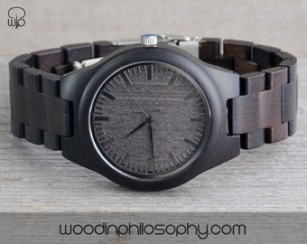Wooden Watch Ebony | Dark Grey Dial | Engraved Wood Watch | Personalized Wood Watch For Men | Best Gift | Best Gift For Men