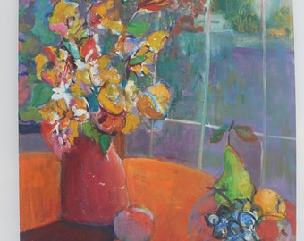 1975 Multicolored Still life Signed Painting.