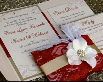 Custom Pocket Wedding Invitation Suite with lace, satin ribbon, floral design and brooch