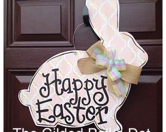 Bunny Door Hanger, FAST SHIP, Rabbit Door Hanger, Easter Door Hanger, Spring Door Hanger, Easter wreath