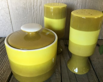 Kitschy, Retro Set of Salt and Pepper and Sugar Bowl