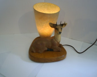 1950's Deer Cabin Lamp