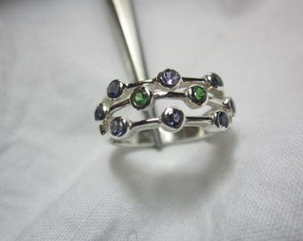 natural tsavorite and iolite ring, iolite and green garnet ring,6.5 US ring size, WOOW GORGEOUS