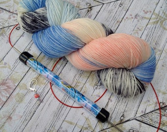 Squishy Sock Yarn, Hand Dyed Yarn, Merino 8 ply, Nylon SW, 430 yards, Knitting Set