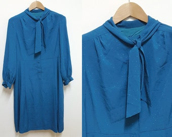 1980 Vintage Dress, Turquoise Dress,  Dress, Japan Vintage, Day Dress, Long sleeve dress